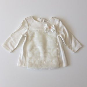 NWT Tahari Baby Winter White Faux Fur Bow Dress